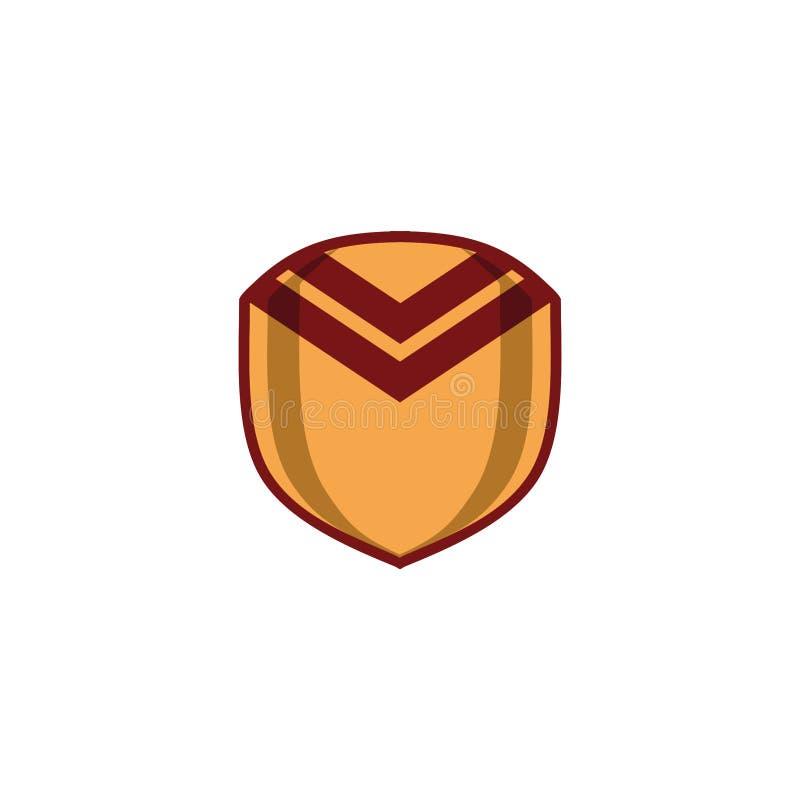 Tipo heráldico marrón del concepto del logotipo del escudo del oro - 2 stock de ilustración