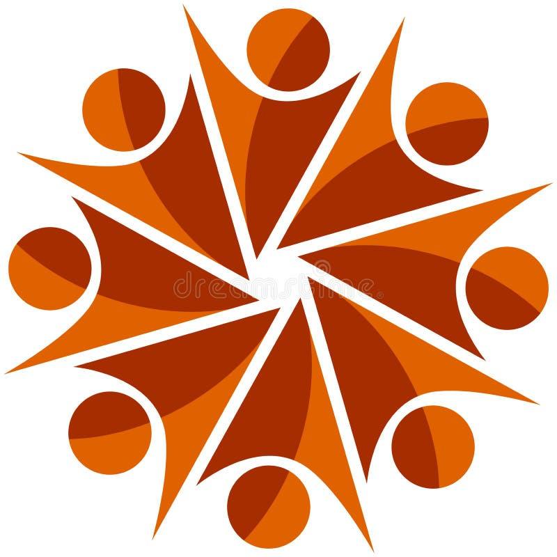 Tipo humano logotipo do trabalho da equipe ilustração royalty free