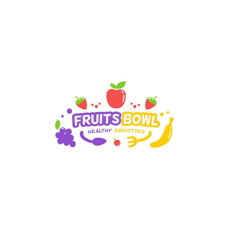 Tipo ilustração do logotipo da bacia de frutos do suco do batido do símbolo da tipografia ilustração stock