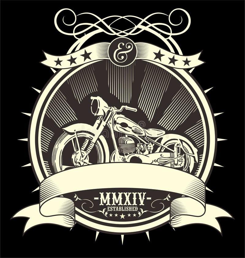 Tipo ilustração enchida do vetor da motocicleta do vintage, tração manual da mão do artrwork do EPS ilustração do vetor