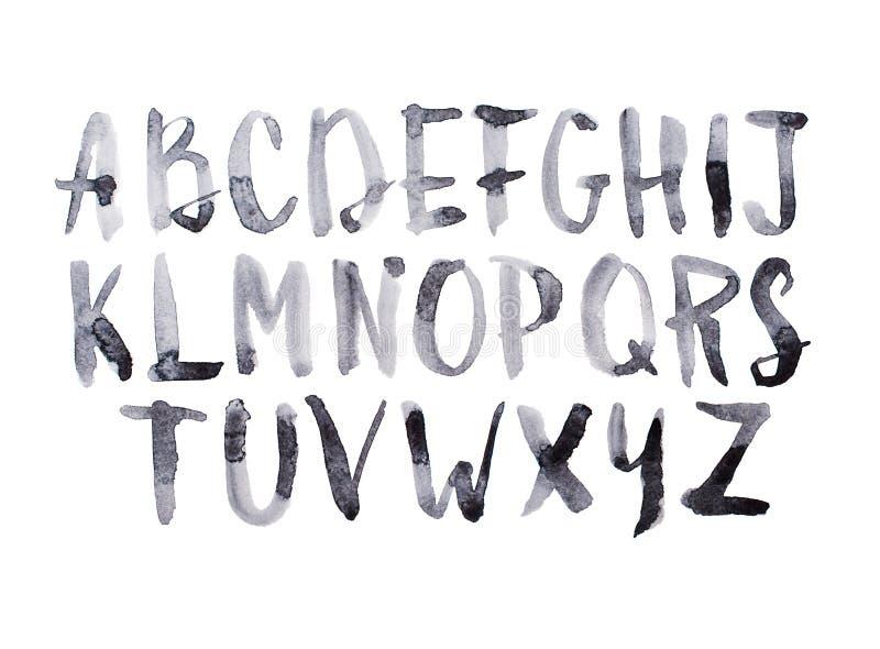 Tipo letras mayúsculas dibujadas mano manuscrita de la fuente de la acuarela de la acuarela del alfabeto del ABC del garabato foto de archivo