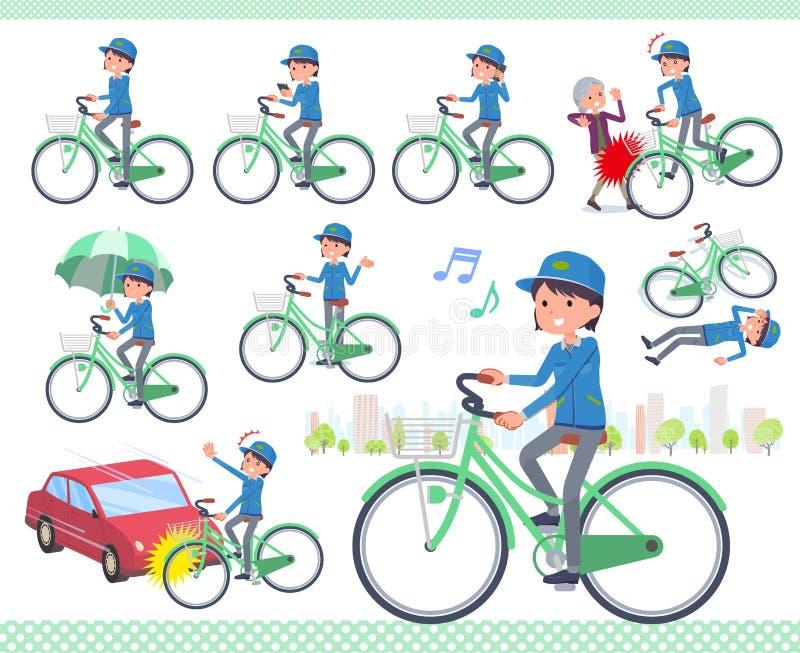 Tipo liso ciclo do women_city da entrega ilustração royalty free