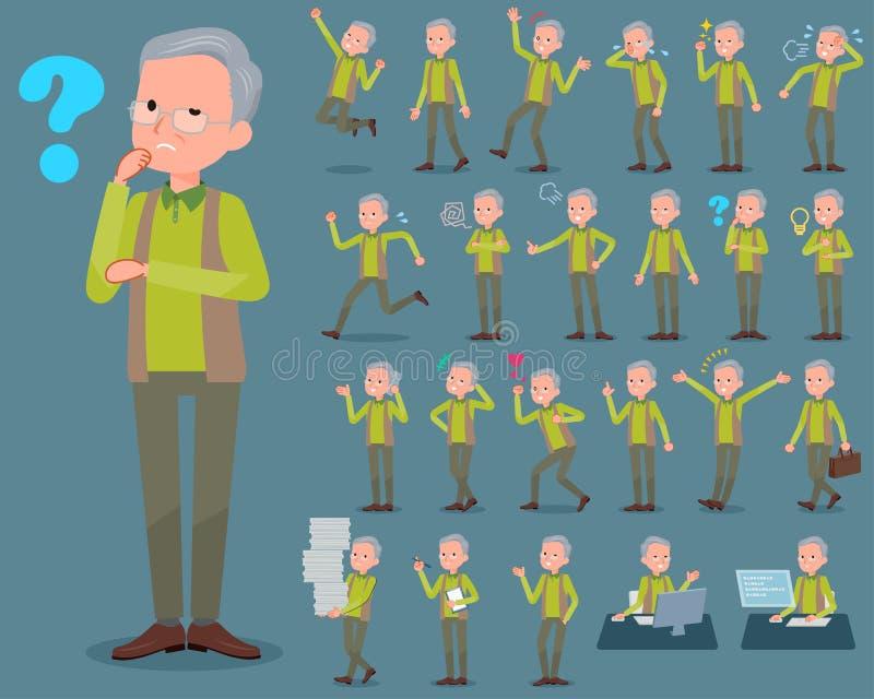 Tipo liso veste grandfather_1 do verde ilustração stock