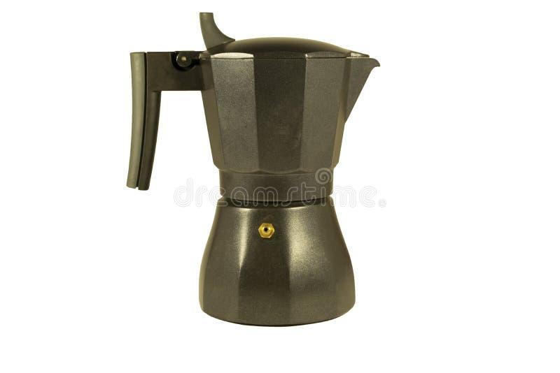Tipo manual del géiser del negro de la máquina del café de metal imagenes de archivo