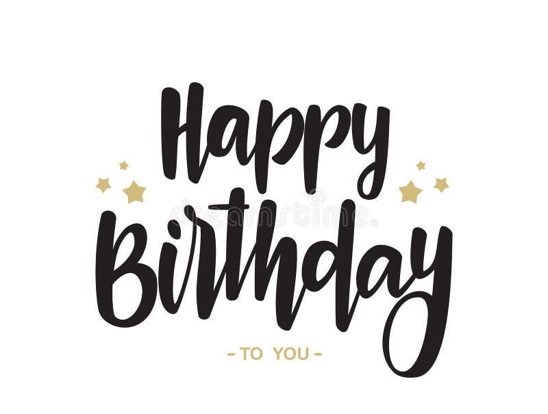 Tipo manuscrito letras de feliz cumpleaños en el fondo blanco Diseño de la tipografía Tarjeta de felicitaciones stock de ilustración