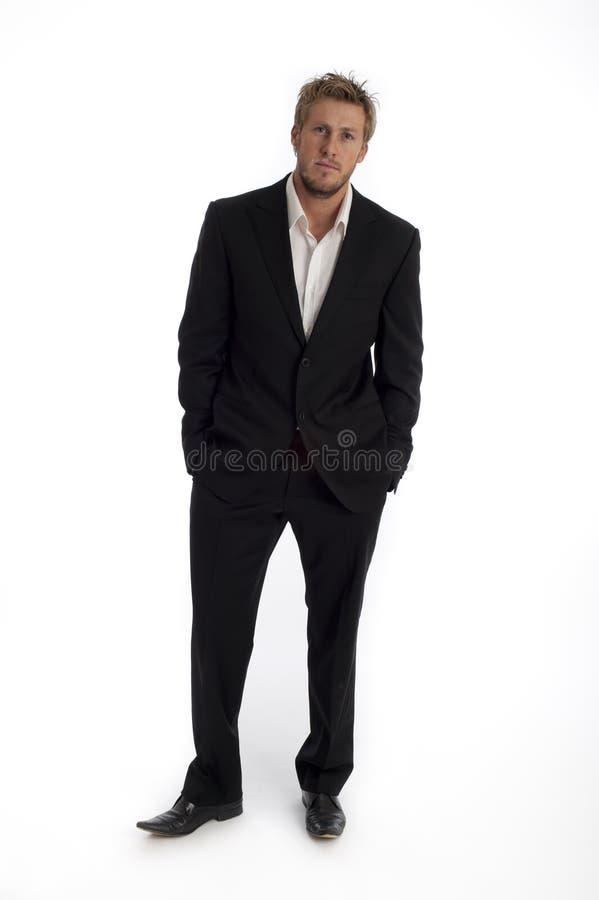 Tipo masculino de vista ocasional do negócio isolado de encontro imagem de stock