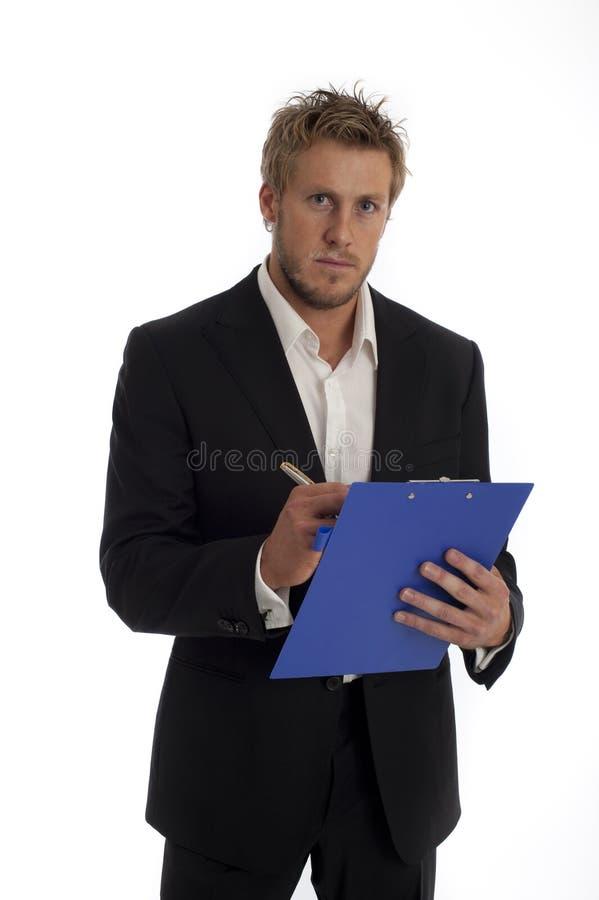 Tipo masculino de vista ocasional do negócio isolado de encontro imagens de stock