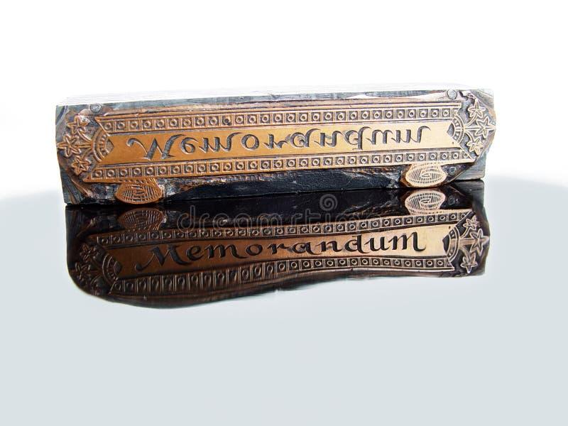 Tipo memorandum dello scritto tipografico fotografia stock