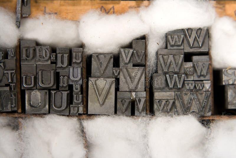 Tipo mezclado bloques de la prensa de copiar foto de archivo
