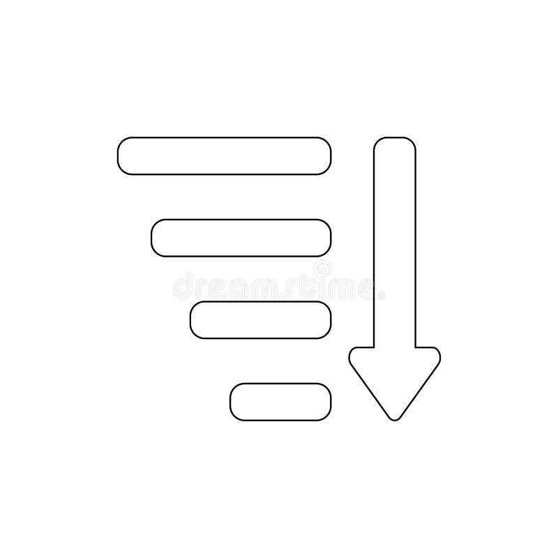 Tipo pelo ícone do esboço da seta dos atributos Os sinais e os s?mbolos podem ser usados para a Web, logotipo, app m?vel, UI, UX ilustração stock
