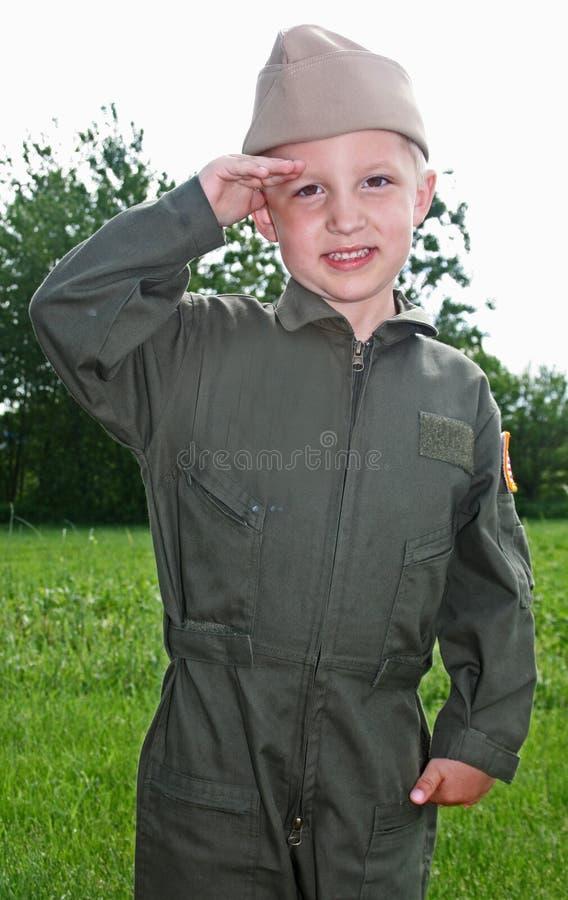 Tipo pilota del bambino del blu marino fotografia stock libera da diritti