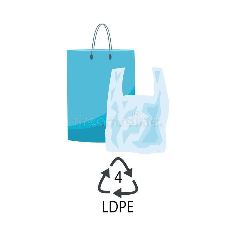 Tipo plástico del LDPE 4 - los bolsos de compras azules del polietileno con la manija con reciclan la muestra de la flecha del tr ilustración del vector