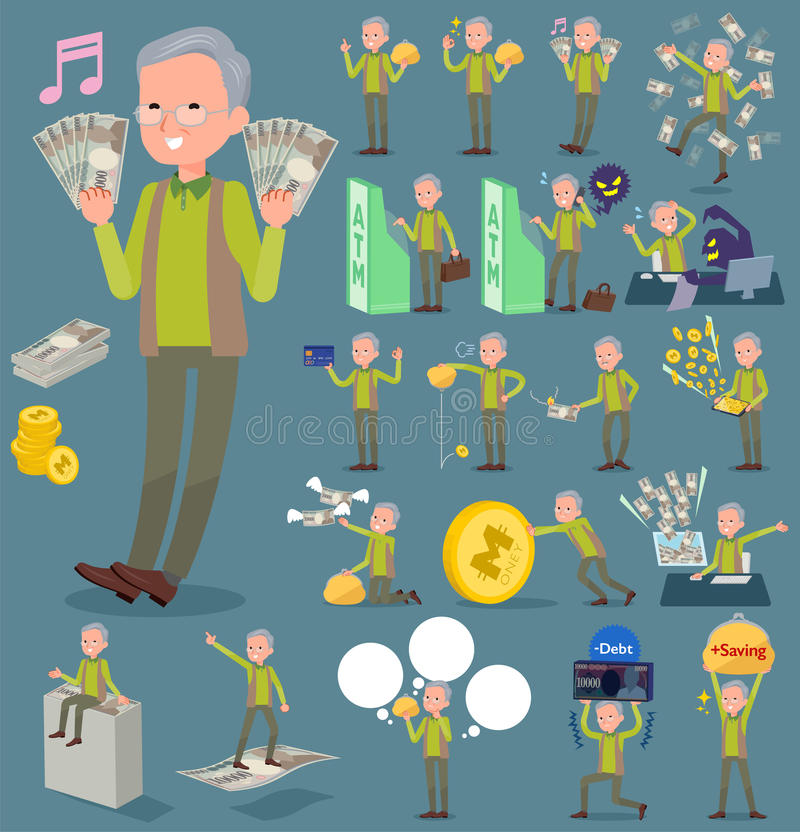 Tipo plano grandfather_money del chaleco del verde libre illustration