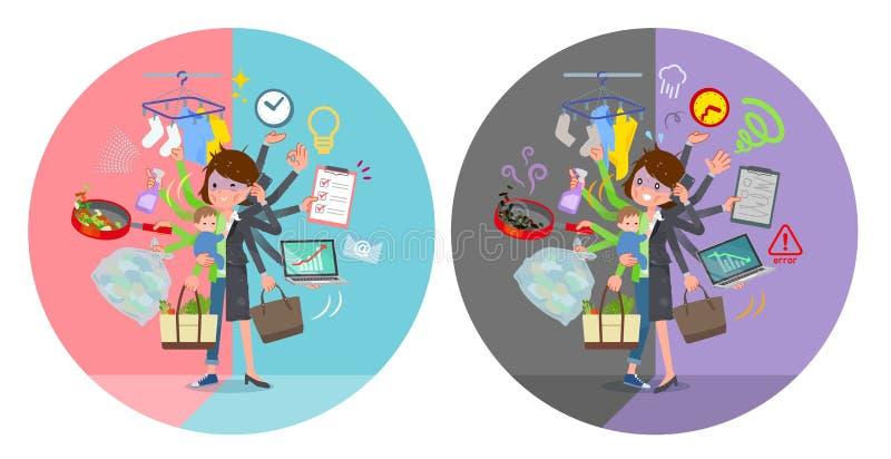 Tipo plano swit gris de la tarea del condition_mulch de las mujeres de negocios del traje mún stock de ilustración