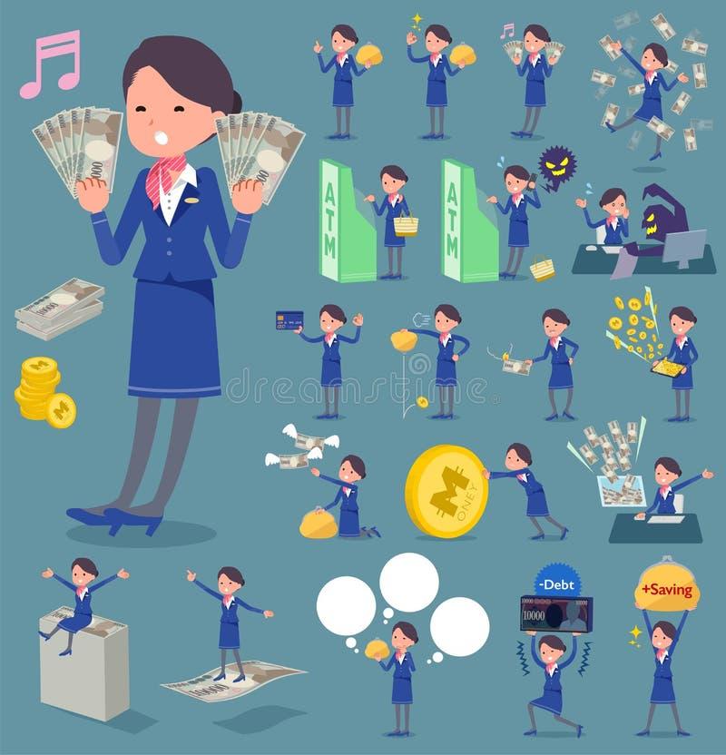 Tipo plano woman_money del azul del asistente de cabina libre illustration