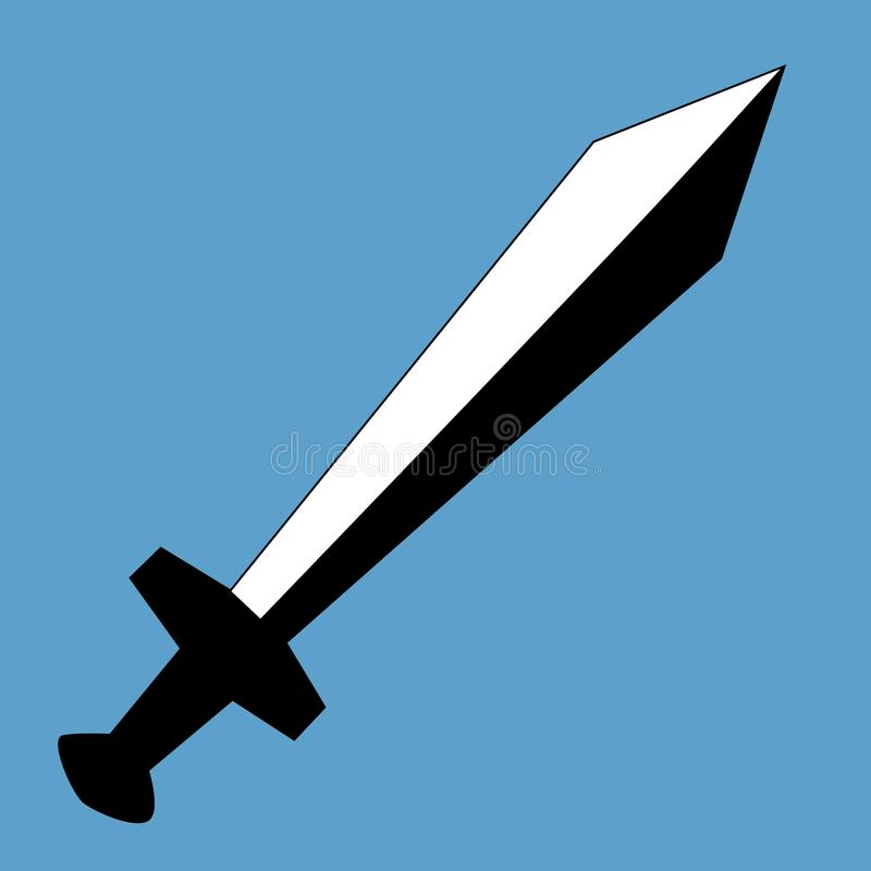 Tipo simple, plano espada del gladius Aislado en un fondo azul claro ilustración del vector