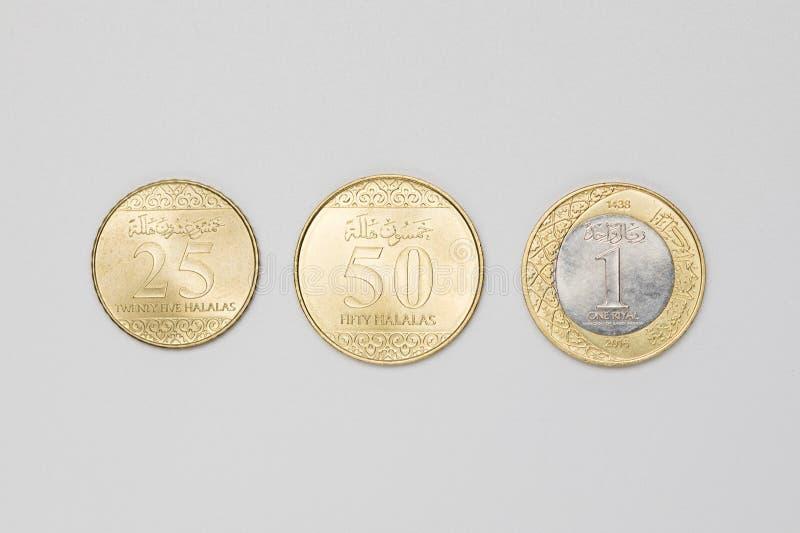 Tipo três de moedas do saudita fotos de stock