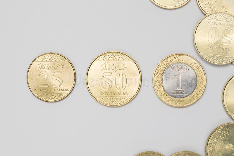 Tipo três de moedas do saudita imagem de stock royalty free