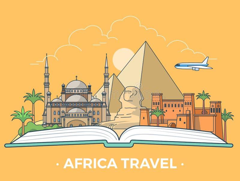 Tipo vecto plano del turismo del viaje de África del estilo de la bandera ilustración del vector