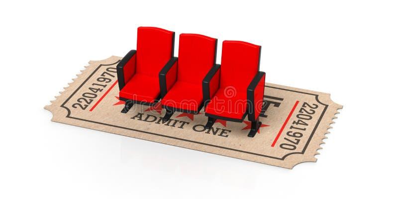 Tipo velho bege do cinema do bilhete sob assentos vermelhos em um fundo branco, entalhe, isolado, do cinema ilustração 3d ilustração royalty free