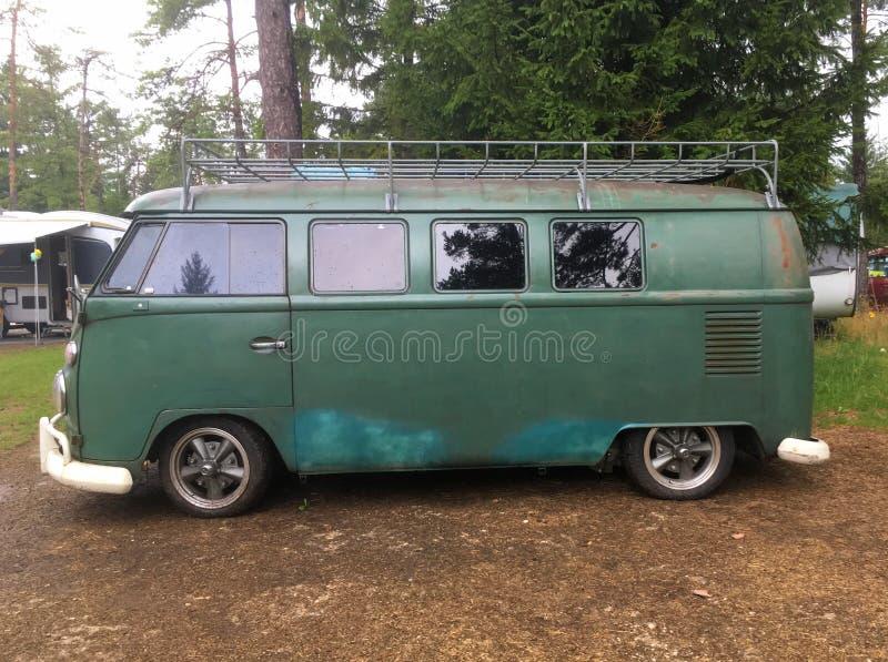 Tipo 1 verde del transportador de VW de Volkswagen foto de archivo