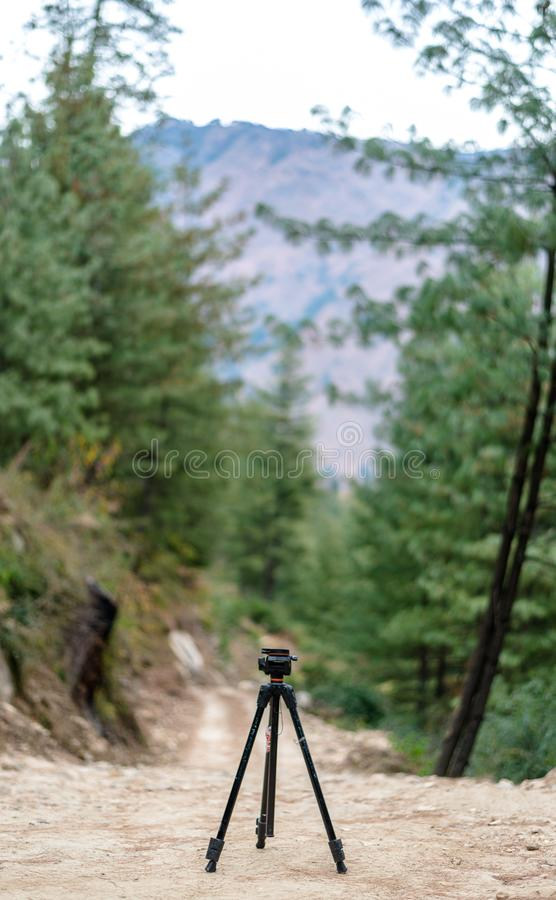 Tipod w górach - tło robić drzewami natura obraz stock