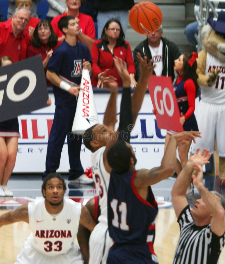 At Tipoff. A Tipoff in a University of Arizona Wildcats Men's Basketball Game Against the Robert Morris Colonials at McKale Center, Tucson, on December 22, 2010 royalty free stock images
