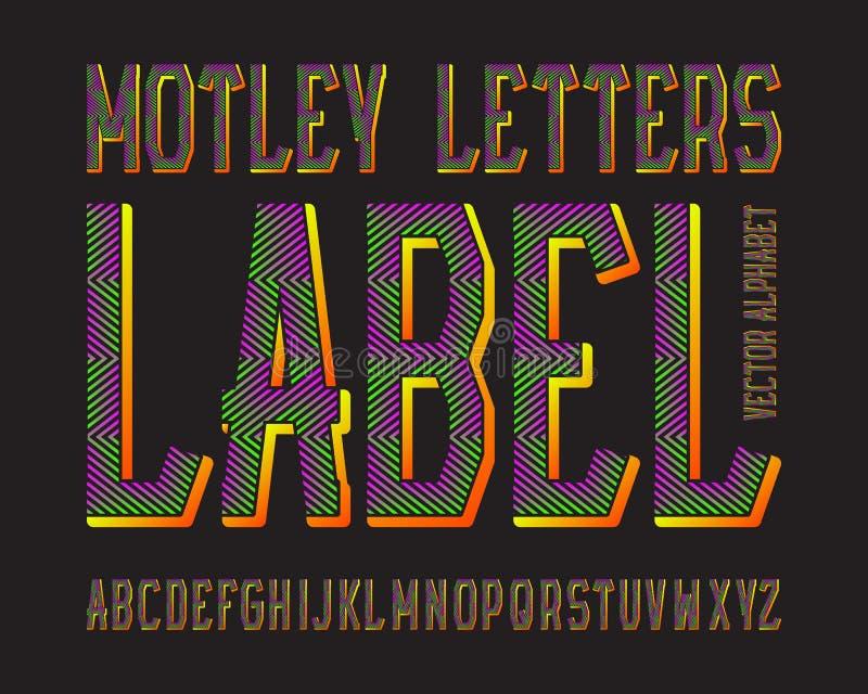 Tipografía abigarrada de la etiqueta de las letras Fuente luminescente colorida Alfabeto inglés aislado stock de ilustración