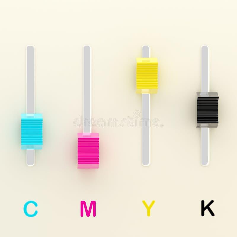 Tipografía: ajustes del color del cmyk como mezclador ilustración del vector