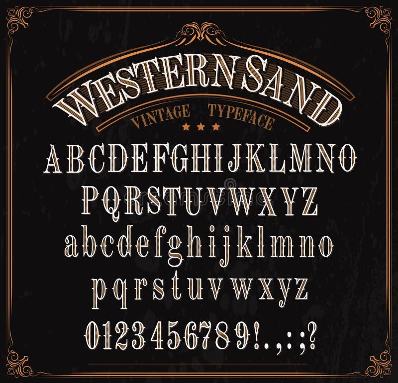Tipograf?a, alfabeto occidental de la fuente, n?meros y muestras stock de ilustración