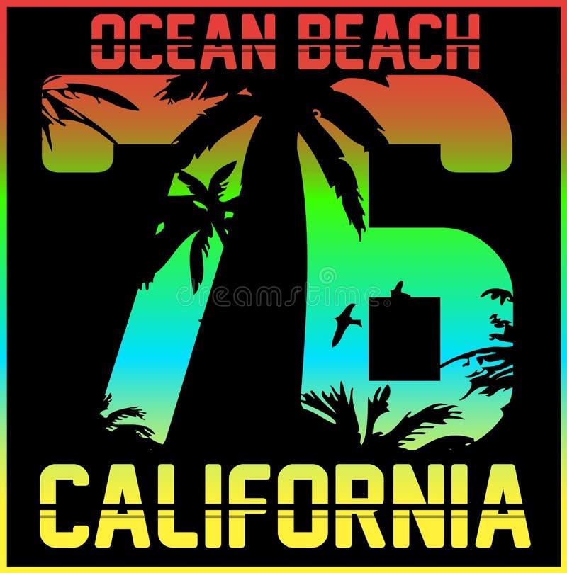 Tipografía de California, gráficos de la camiseta, vectores ilustración del vector