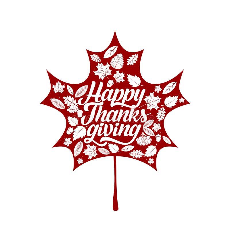 Tipografía de la acción de gracias Texto maravillosamente adornado del día de fiesta con los elementos del otoño stock de ilustración
