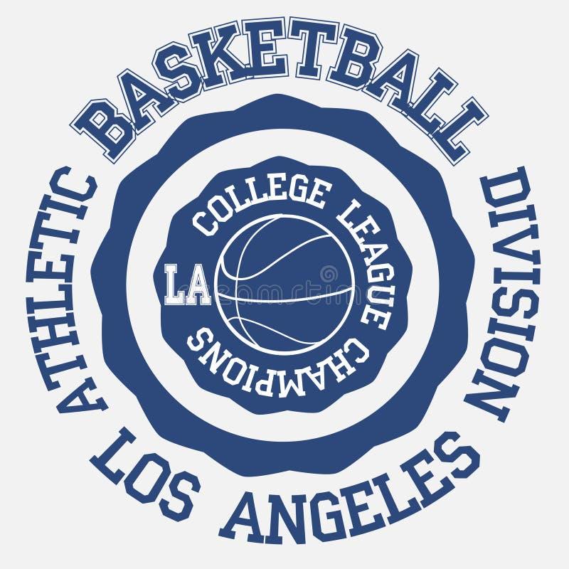 Tipografía de la bola de la cesta, Los Ángeles ilustración del vector