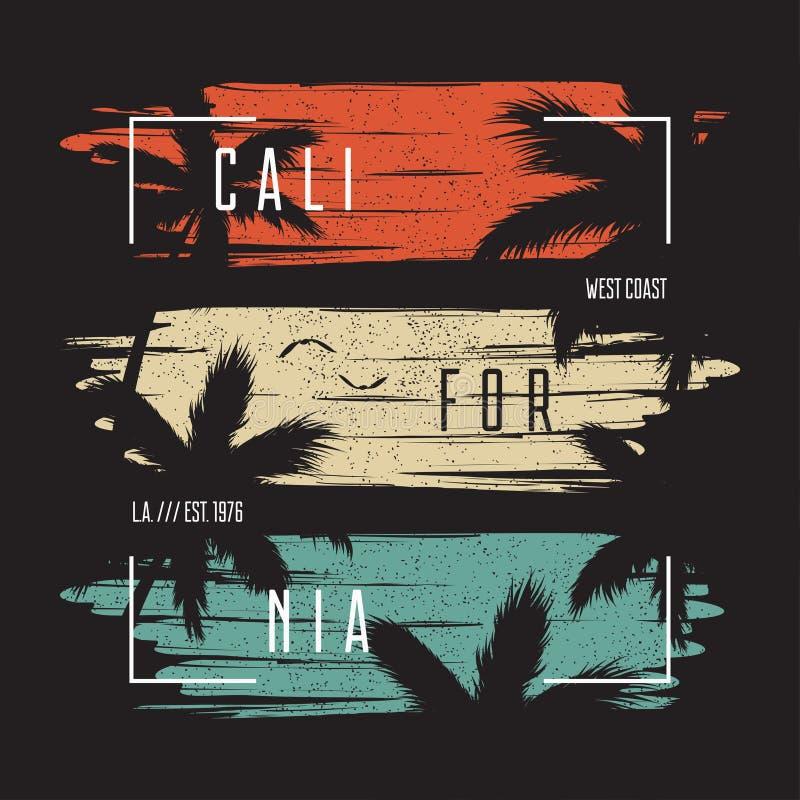 Tipografía de la camiseta de California con el fondo del grunge del color y las siluetas de las palmeras Diseño de moda de la rop ilustración del vector
