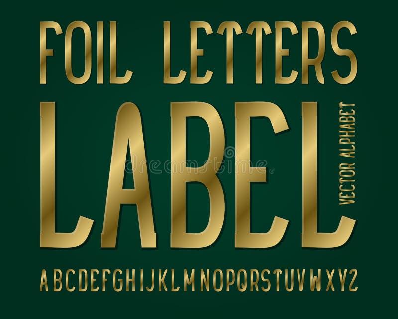 Tipografía de la etiqueta de las letras de la hoja Fuente de oro Alfabeto inglés aislado ilustración del vector