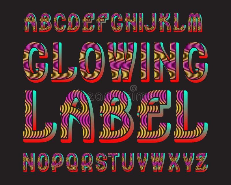 Tipografía de la etiqueta de las letras que brilla intensamente Fuente luminescente colorida Alfabeto inglés aislado libre illustration