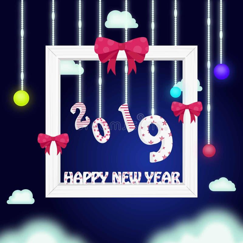 Tipografía 2019 de la Feliz Año Nuevo con diseño creativo stock de ilustración