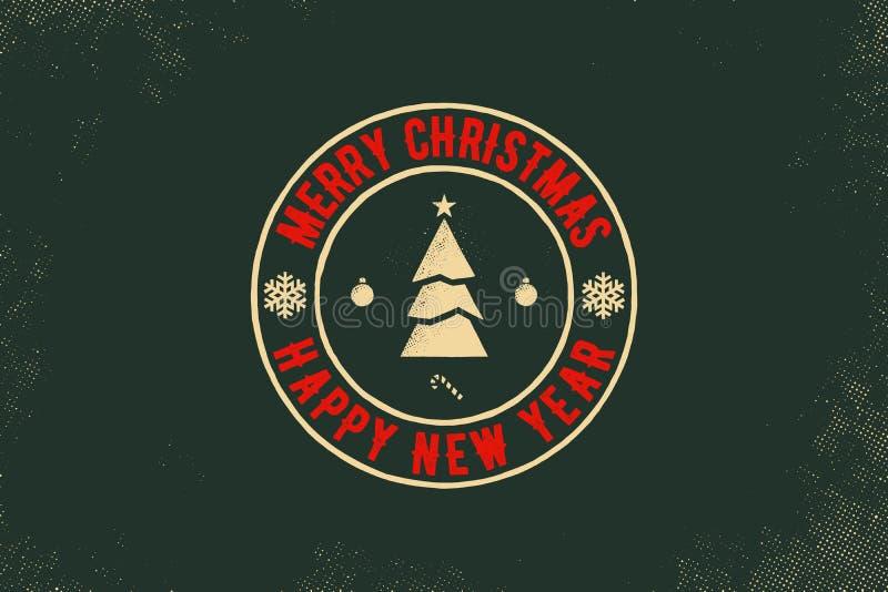 Tipografía de la Feliz Navidad y de la Feliz Año Nuevo Logotipo del vector, emblema, diseño del texto Usable para las banderas, l stock de ilustración