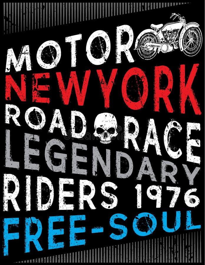 Tipografía de la motocicleta, gráficos de la camiseta, vectores stock de ilustración