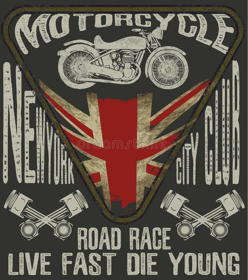 Tipografía de la motocicleta; motor del vintage; gráficos de la camiseta; vectores libre illustration