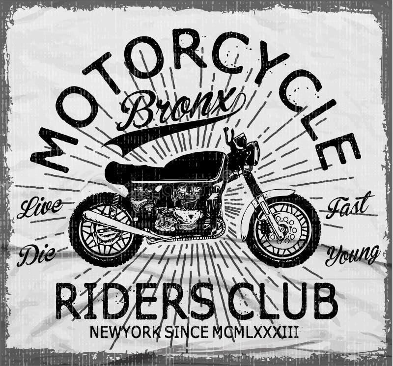 Tipografía de la motocicleta, motor del vintage, gráficos de la camiseta, vectores stock de ilustración