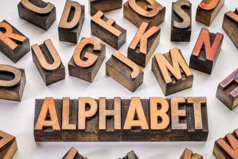 Tipografía de la palabra del alfabeto en el tipo de madera foto de archivo