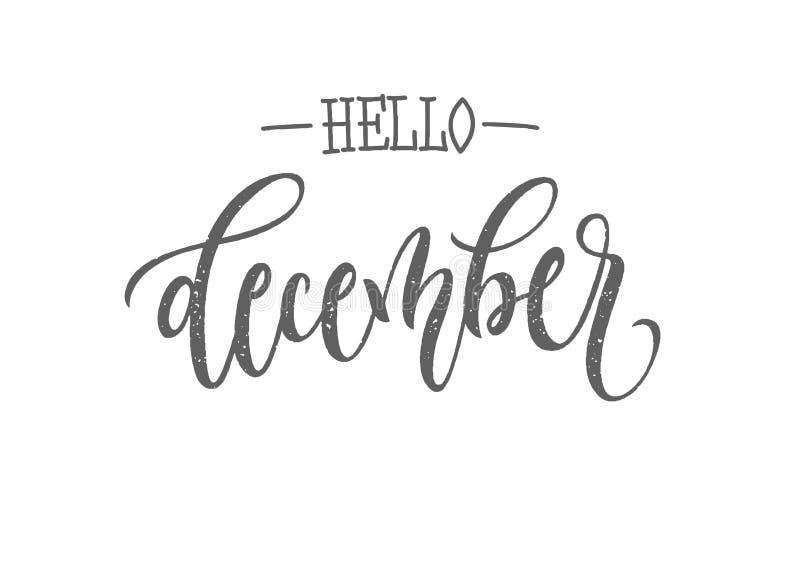 Tipografía de las letras de diciembre Caligrafía moderna del invierno Ejemplo del vector en fondo aislado ilustración del vector