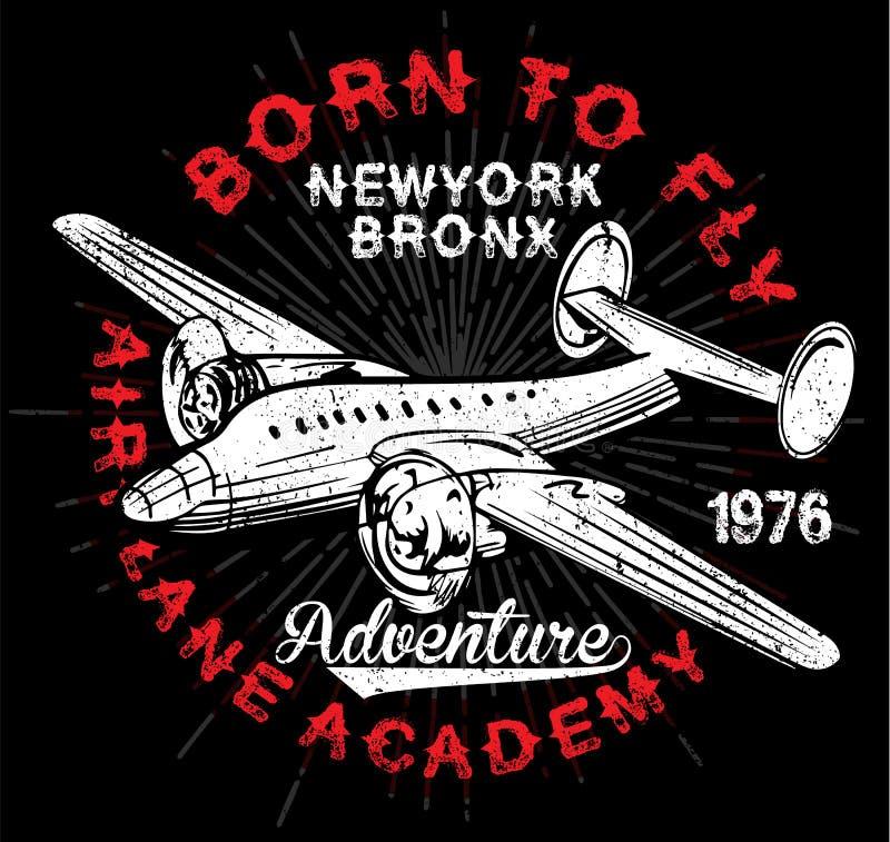 Tipografía de los aeroplanos del vintage, gráficos de la camisa, vectores libre illustration