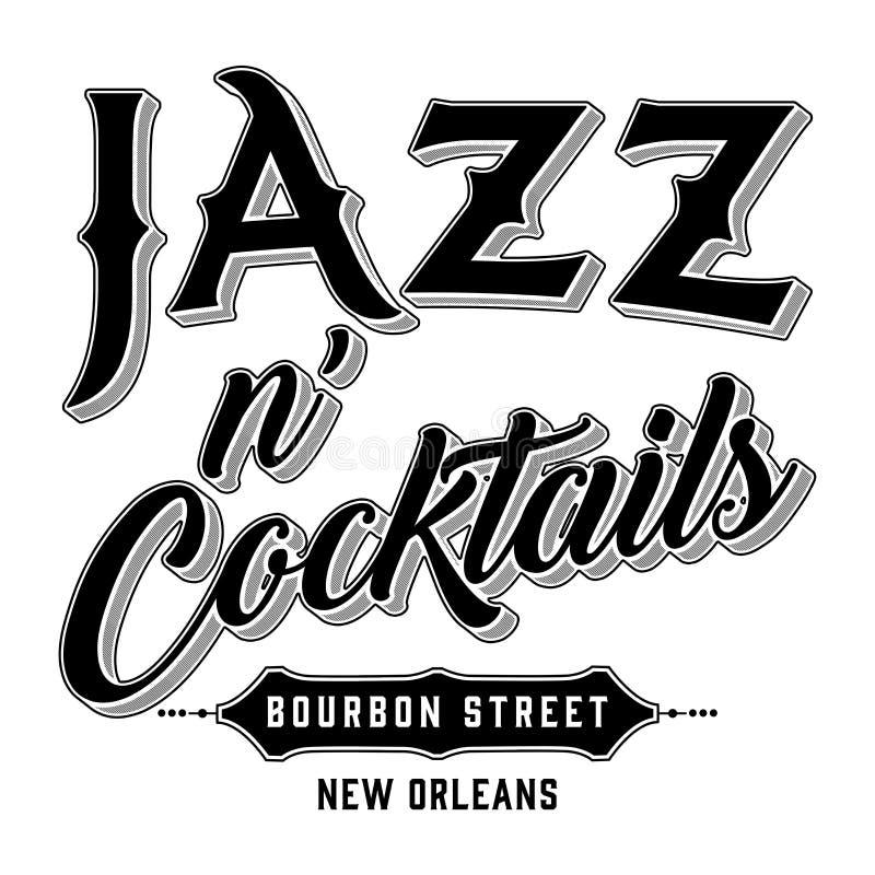 Tipografía de New Orleans del jazz y de la calle de Borbón de los cócteles stock de ilustración