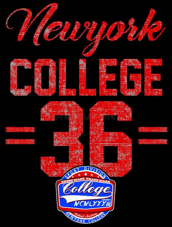 Tipografía de Nueva York de la universidad, gráficos de la camiseta stock de ilustración