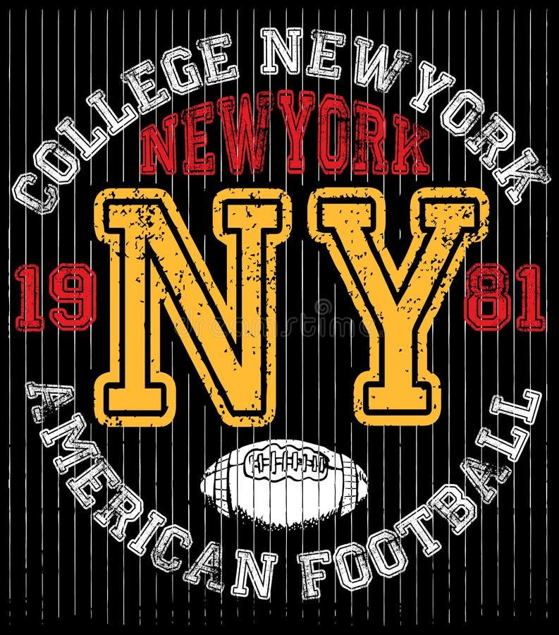 Tipografía de Nueva York de la universidad, gráficos de la camiseta libre illustration