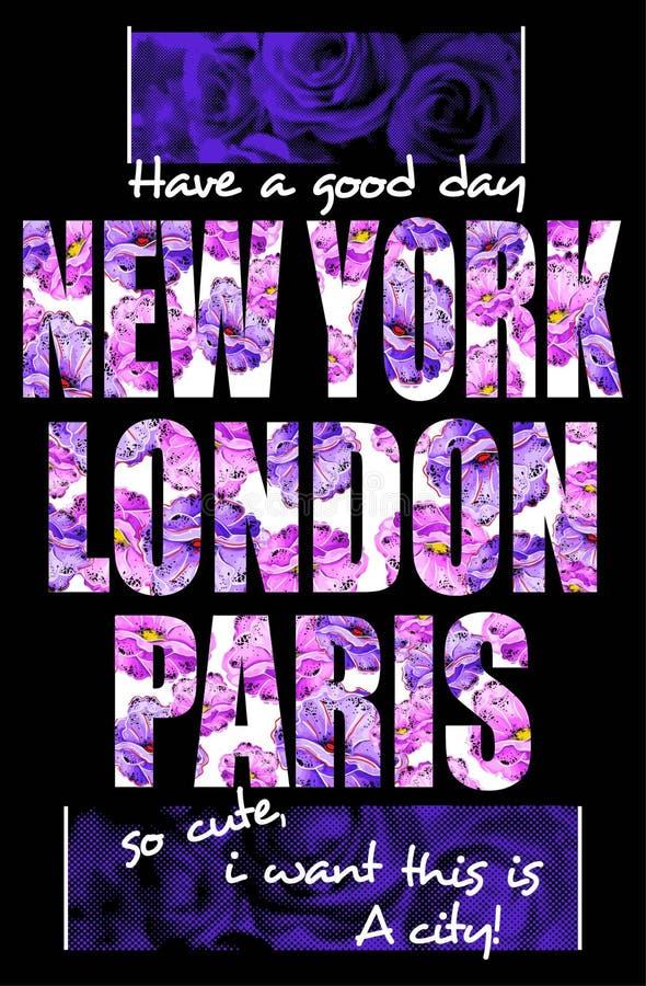 Tipografía de Nueva York Londres París, diseño de gráficos de la camiseta para las muchachas stock de ilustración