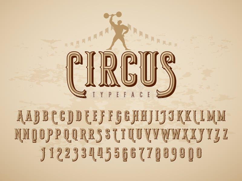 Tipografía decorativa del circo del vintage en fondo de la textura del grunge ilustración del vector