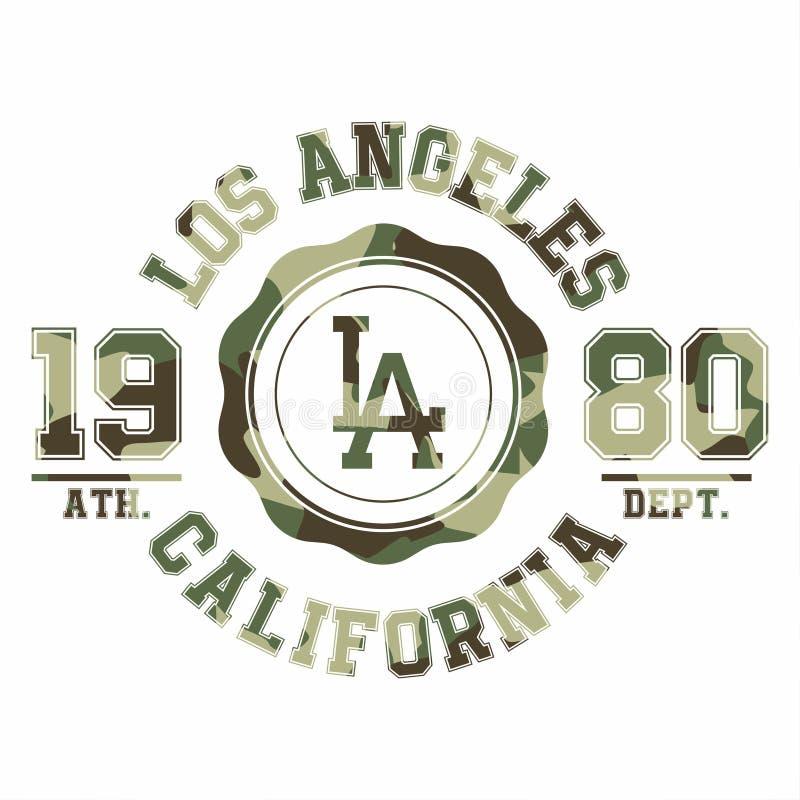 Tipografía del camuflaje para la impresión de la camiseta Los Ángeles, equipo universitario, gráficos atléticos de la camiseta ilustración del vector